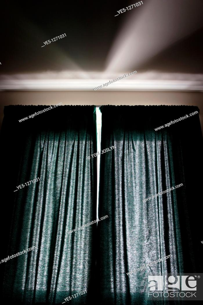 Stock Photo: Sunlight through curtains.