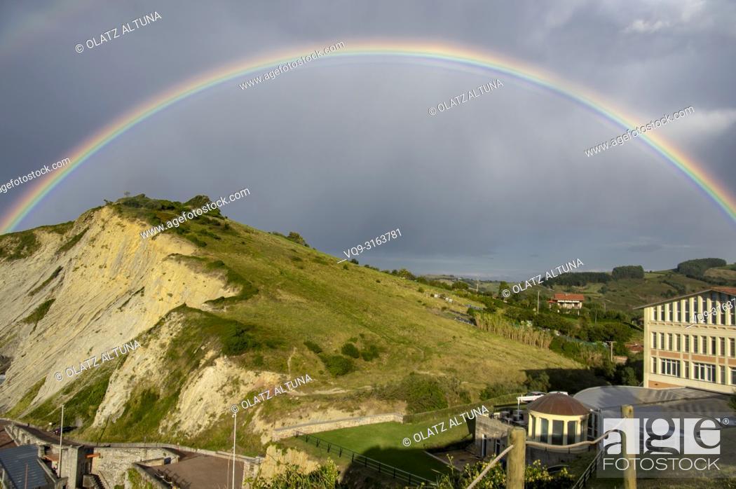Stock Photo: Rainbow, Zumaia, Basque Country, Spain.
