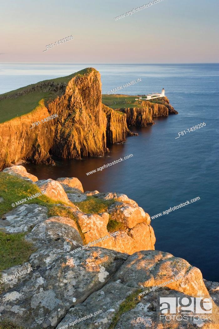 Stock Photo: Neist Point and lighthouse, Isle of Skye, Scotland, UK, June 2007.