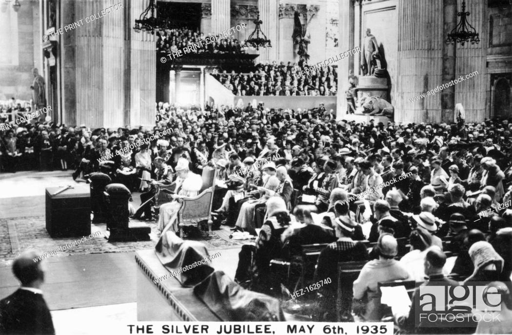 Stock Photo: King George V's Silver Jubilee, London, 6th May, 1935. Thanksgiving service in St Paul's Cathedral.