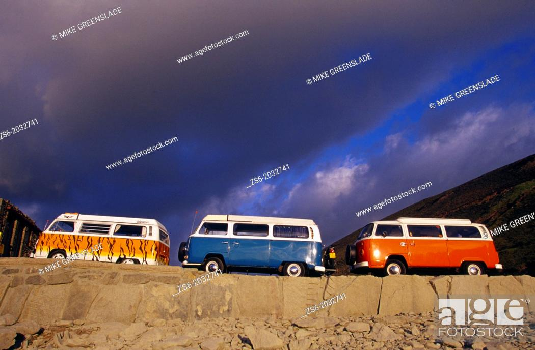 Stock Photo: Volkswagen Kombies parked at Chapel Porth, St Agnes.