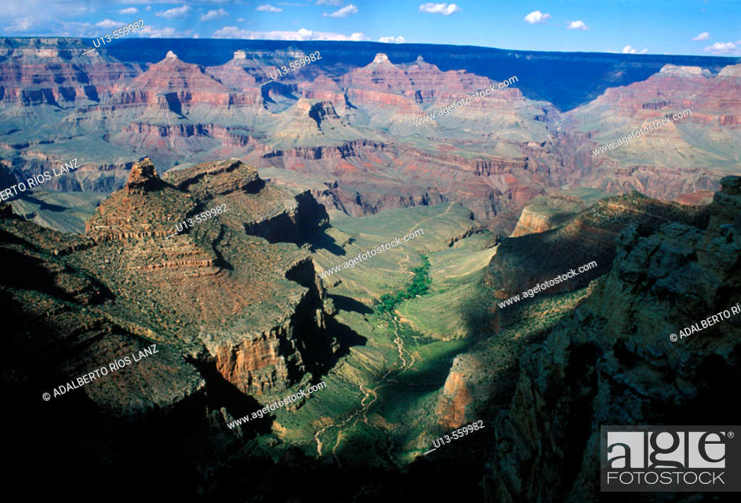 Stock Photo: Grand Canyon. Made by Colorado river. 446 Kms long, 1Km deep and distance between the borders from 16 to 29 Kms. There was human presence more than 3000 years.