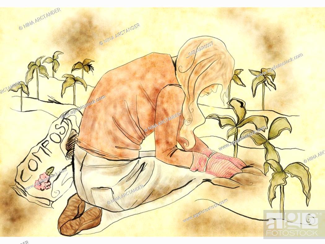 Stock Photo: A woman gardening.