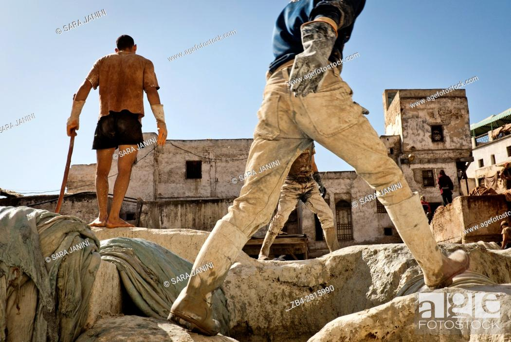 Stock Photo: Workers at the Chouwara Tannery, Fez or Fes, Morocco, North Africa.