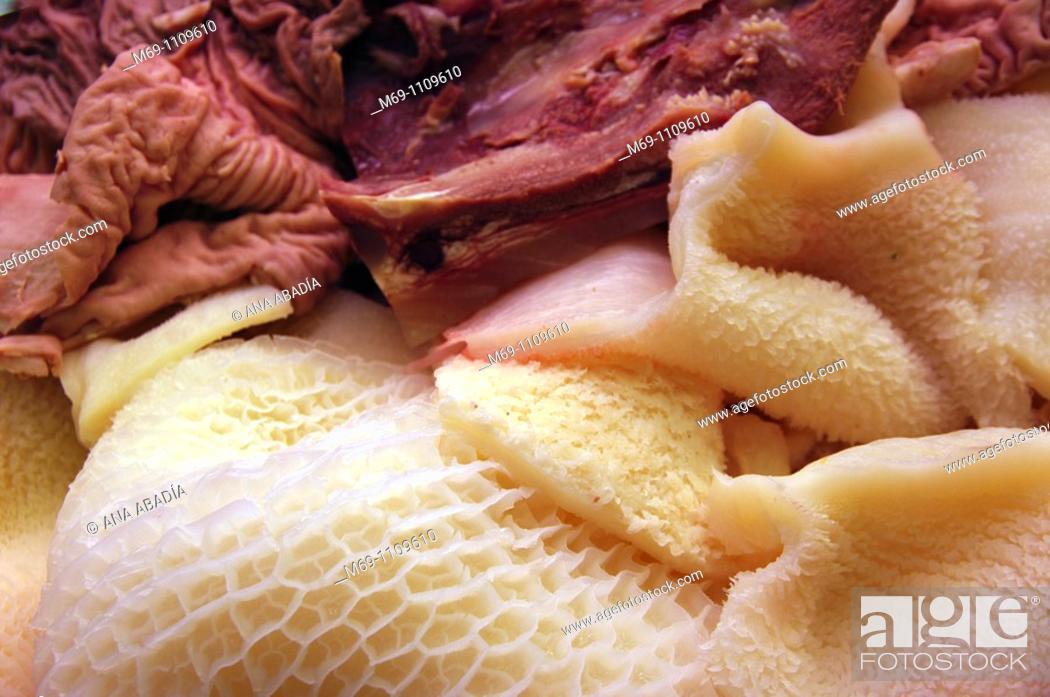 Stock Photo: Sale of guts in the Market of Sant Josep, La Boqueria, Barcelona.