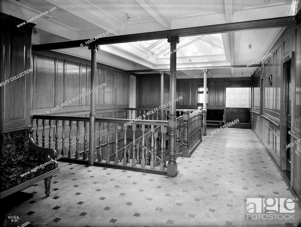 Stock Photo: First class staircase and landing. Ship No: 392. Name: Pericles. Type: Passenger Ship. Tonnage: 10924. Launch: 21 December 1907. Delivery: 4 June 1908.