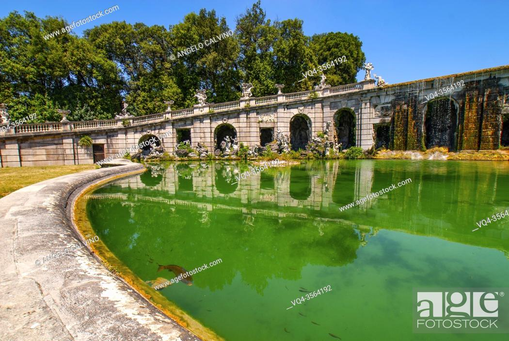 Stock Photo: Fountains in the Reggia di Caserta opened to public after the lockdown due Covid-19 emergency, Royal Palace of Caserta, one of the largest royal residences in.