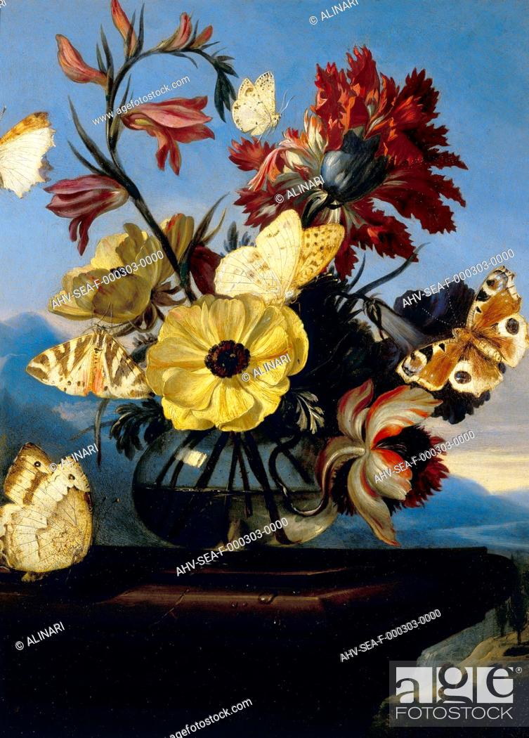 Stock Photo: Vase of flowers with a butterfly; work of Otto Marseus Van Schrieck, formerly kept in the Palatine Gallery in Florence. Now in the Museum of Still Life (Natura.