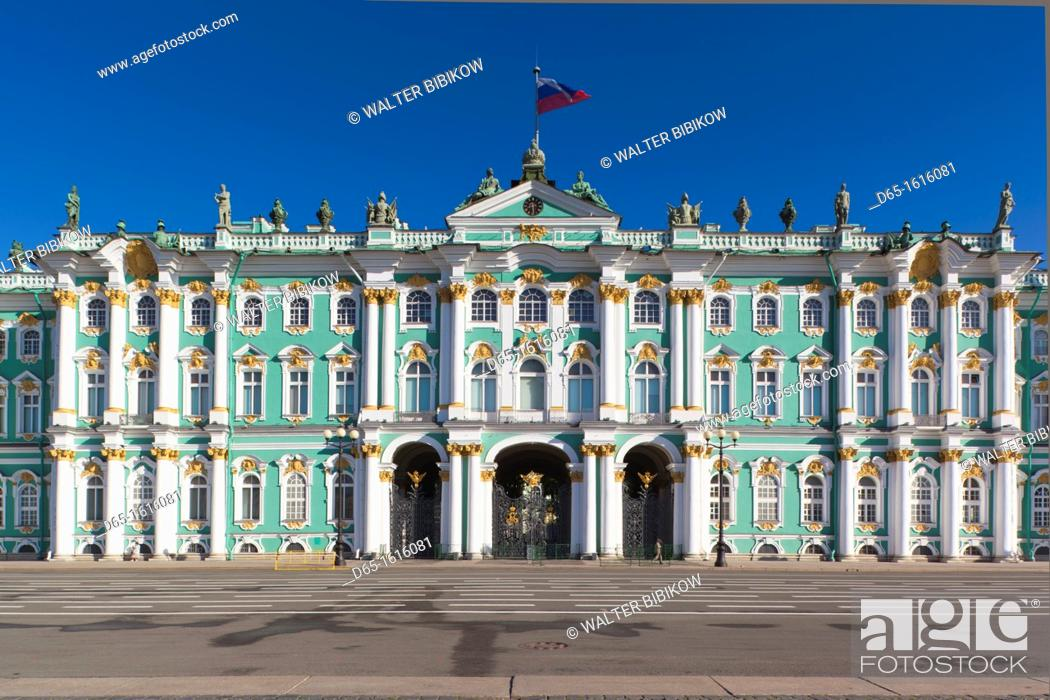 Stock Photo: Russia, Saint Petersburg, Center, Dvotsovaya Square, Winter Palace and Hermitage Museum.