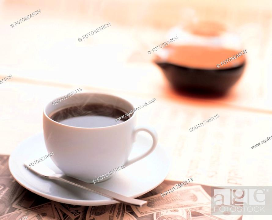 Stock Photo: fresh, coffee, aromatic, teacup, coffeebean, coffee cup, money.