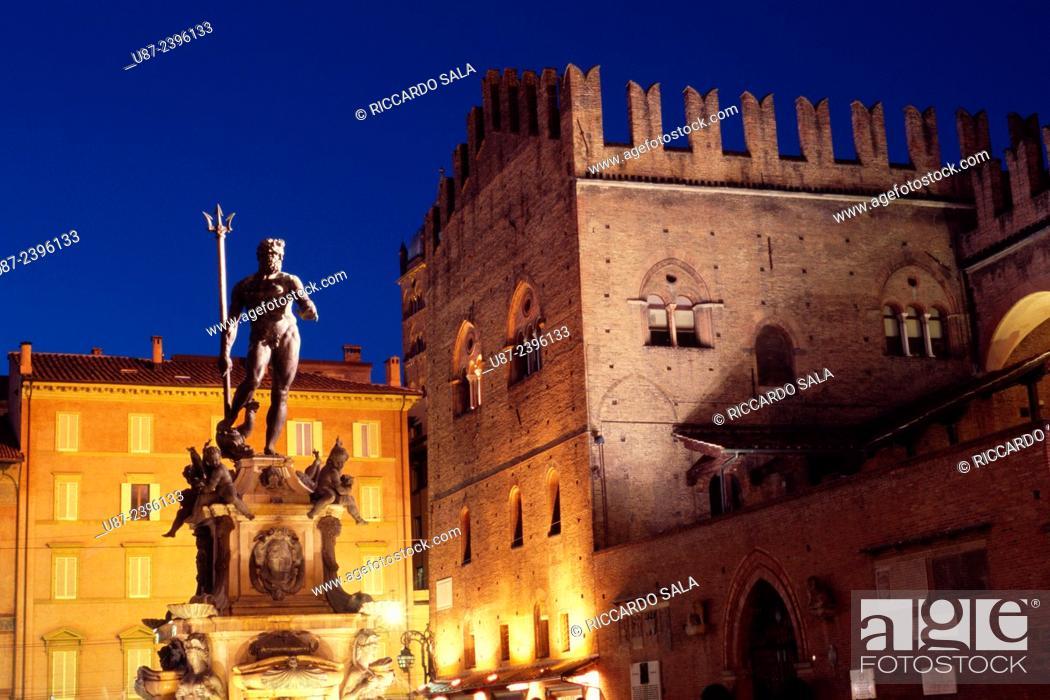 Stock Photo: Italy, Emilia Romagna, Bologna, Piazza Maggiore Square, Fontana del Nettuno, Fountain of Neptune Detail.