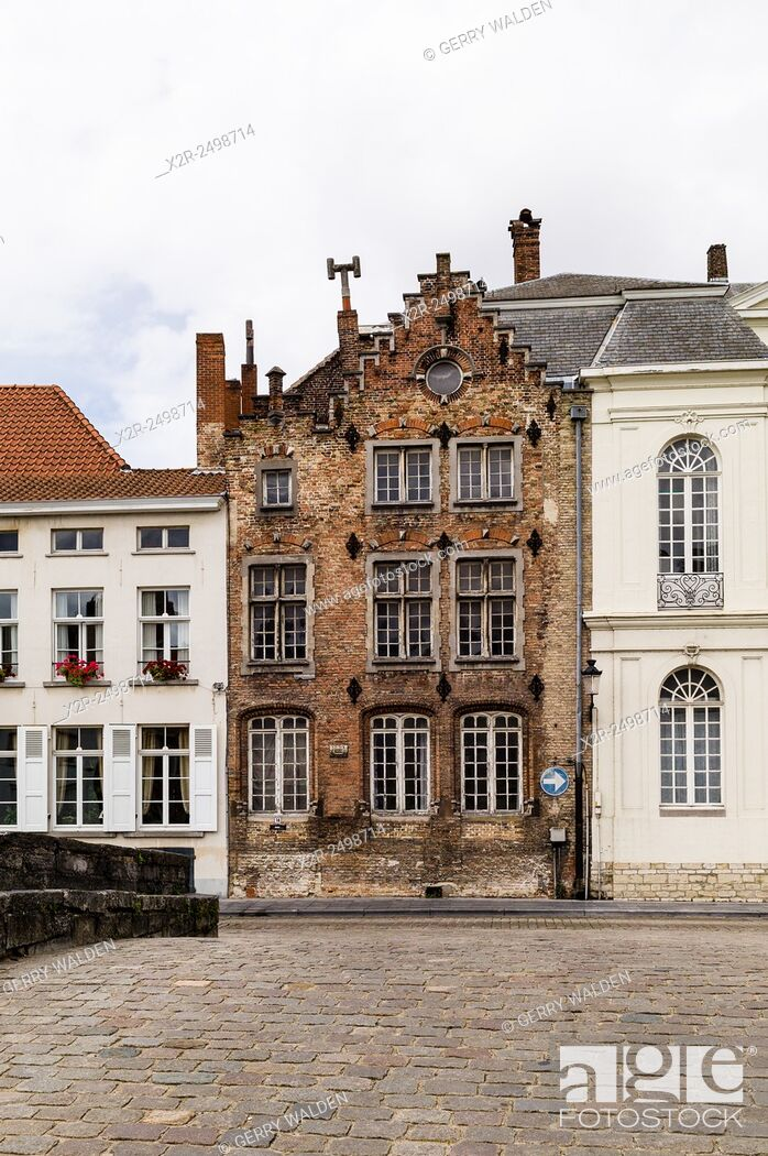 Stock Photo: Typical Flemish architecture along the Spiegelrei in Brugge, Belgium.