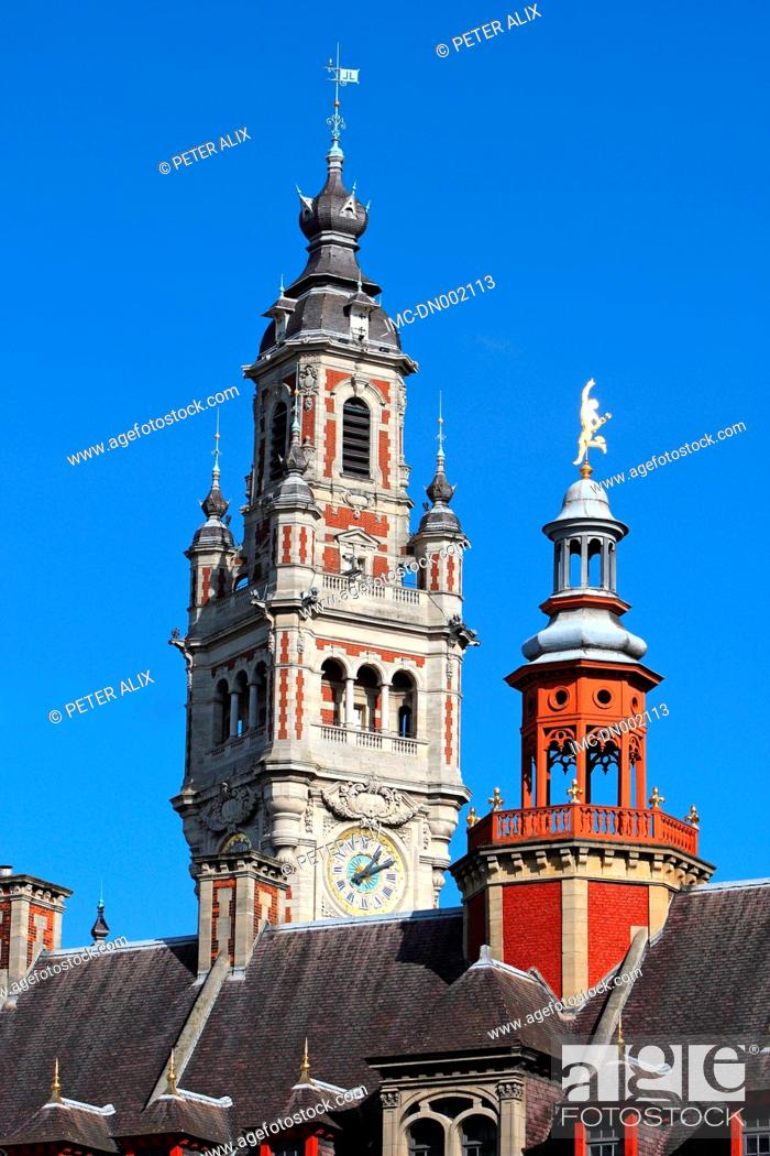 Stock Photo: France, Nord, Lille, belfry of the town hall.