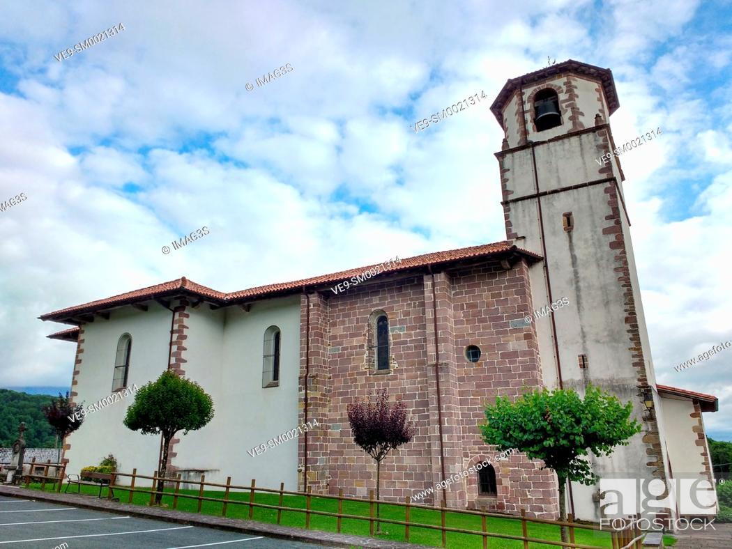 Stock Photo: La Asuncion church, Amaiur, Baztán valley. Navarre. Spain.