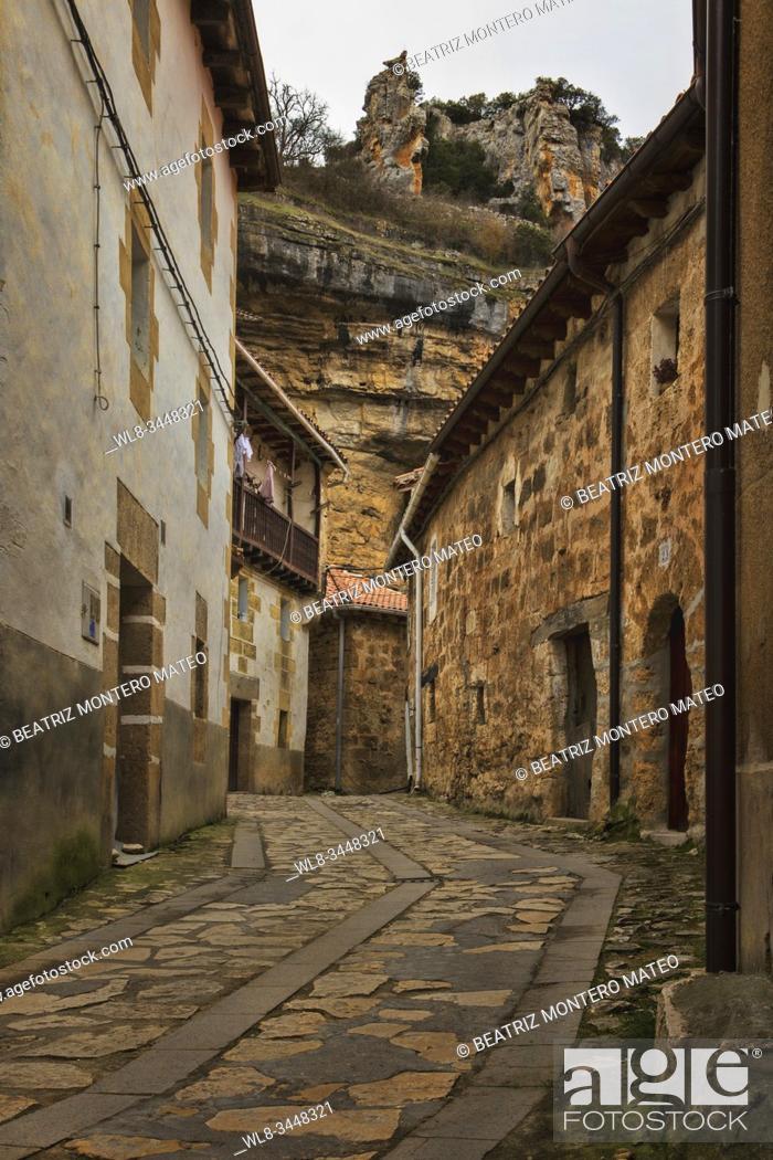 Stock Photo: Streets of Orbaneja del Castillo in Burgos (Spain).
