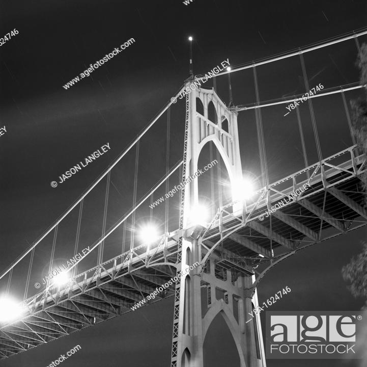 Stock Photo: St  Johns Bridge at night, Cathedral Park, Portland, Oregon, United States.