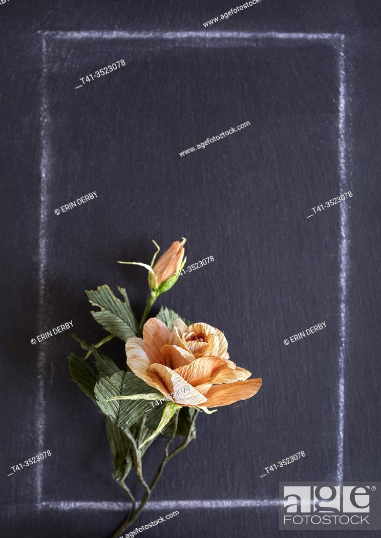 Stock Photo: A handmade paper rose on a chalkboard background.