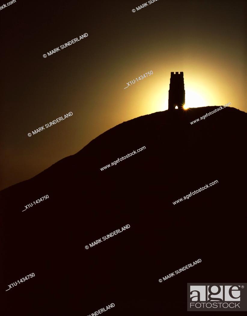 Stock Photo: Glastonbury Tor at Sunrise Somerset England.