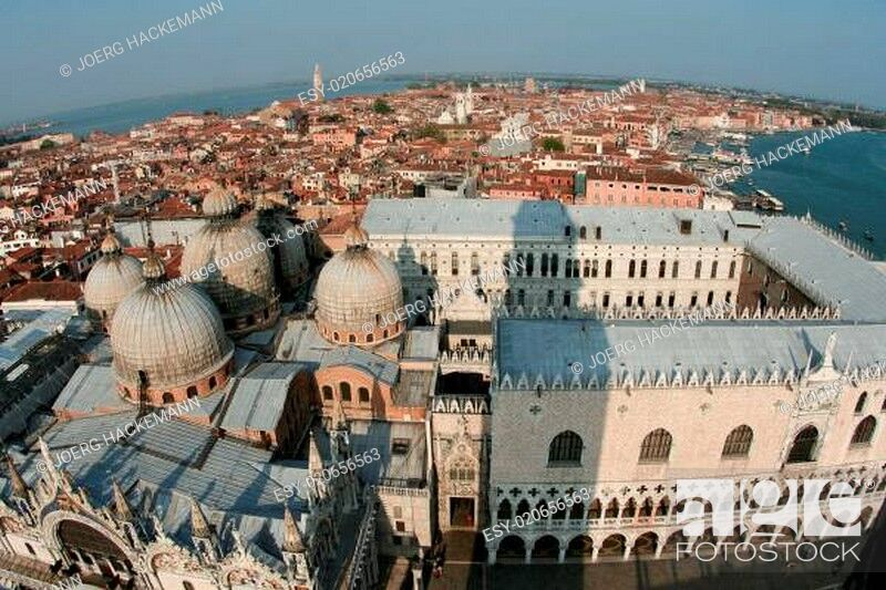 Stock Photo: View from the clocktower over famous Doges Palace in Venice.