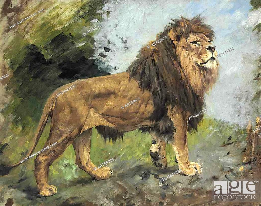 Stock Photo: Vastagh Geza - a Lion Walking - Hungarian School - 19th Century.