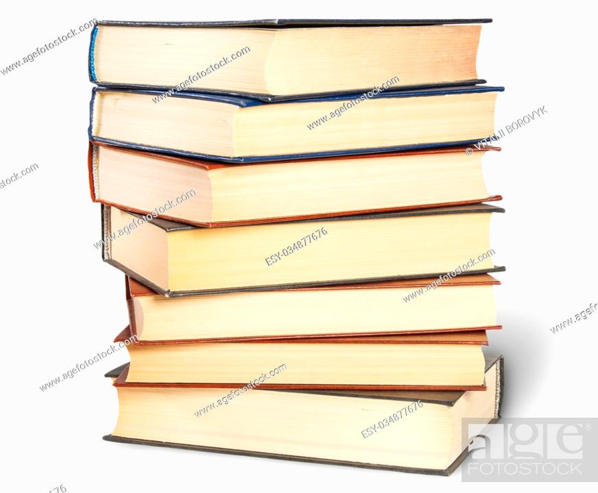 Stock Photo: Stepped Stack Of Old Books Isolated On White Background.