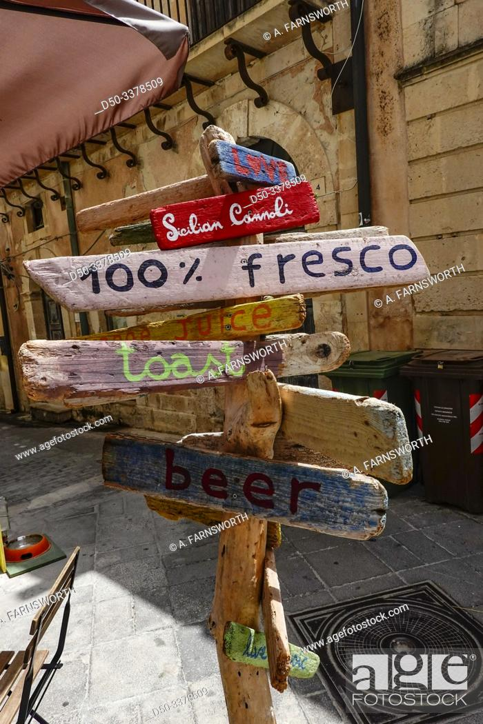 Photo de stock: Syracuse, Ortegia, Sicily, Italy Street signs for food in the old town.