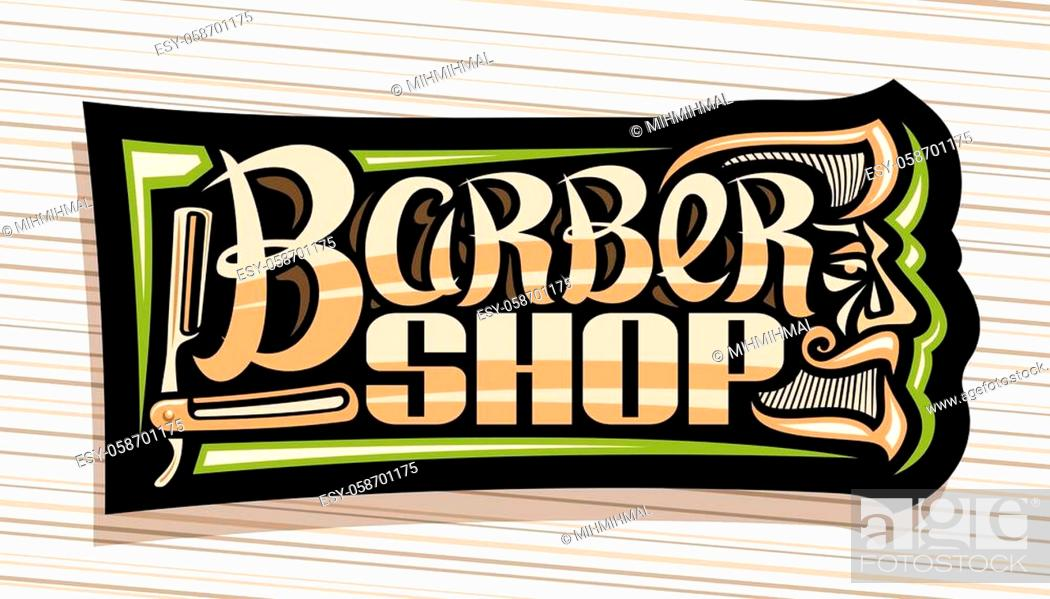 Stock Vector: Vector logo for Barber Shop, dark decorative sign board with professional shaving straight razor, unique brush letters for words barber shop.