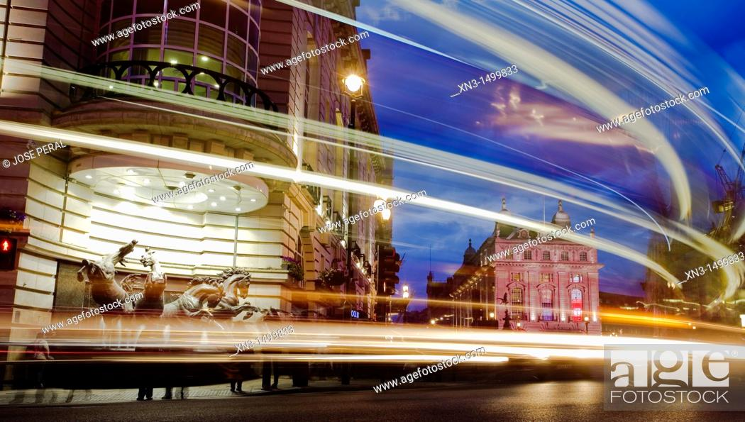 Stock Photo: Statue of horses, Coventry Street, Piccadilly Circus, London, England, UK.