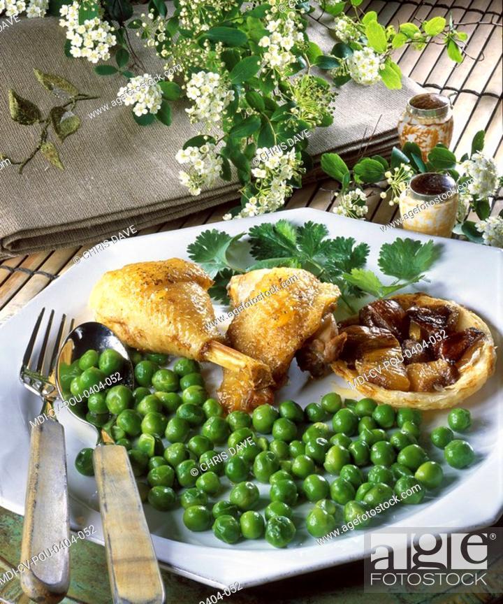 Stock Photo: Bresse chicken, tatin of shallots - Menu of feast.
