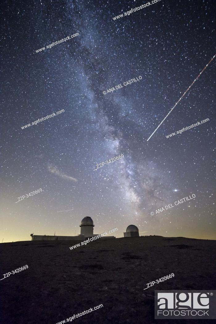 Stock Photo: Arcos de las Salinas Teruel Aragon Spain on August 2019: Milky way in the astronomical observatory of Javalambre Starlight spot at vulture's beak.