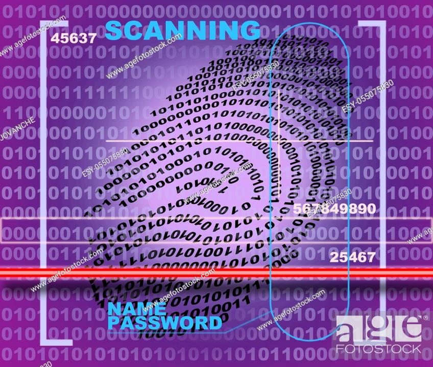 Stock Photo: Fingerprint scanner made in 2d software.