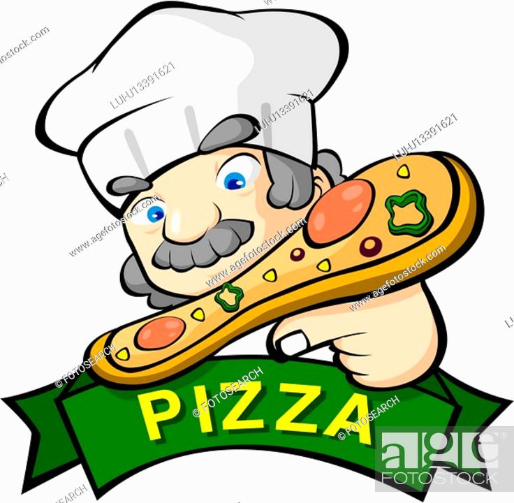 Stock Photo: holding, business, food, pizzeria, pizza chef, pizza.