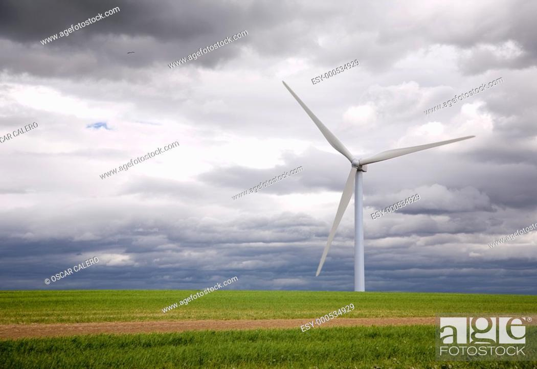 Stock Photo: Wind turbine.