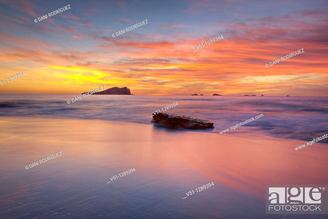 Stock Photo: Sunset in Cala des Compte, Ibiza, Balearic Islands, Spain.
