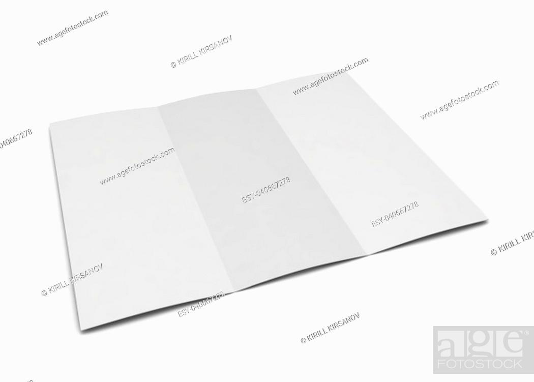 Stock Photo: Blank trifold. 3d illustration isolated on white background.