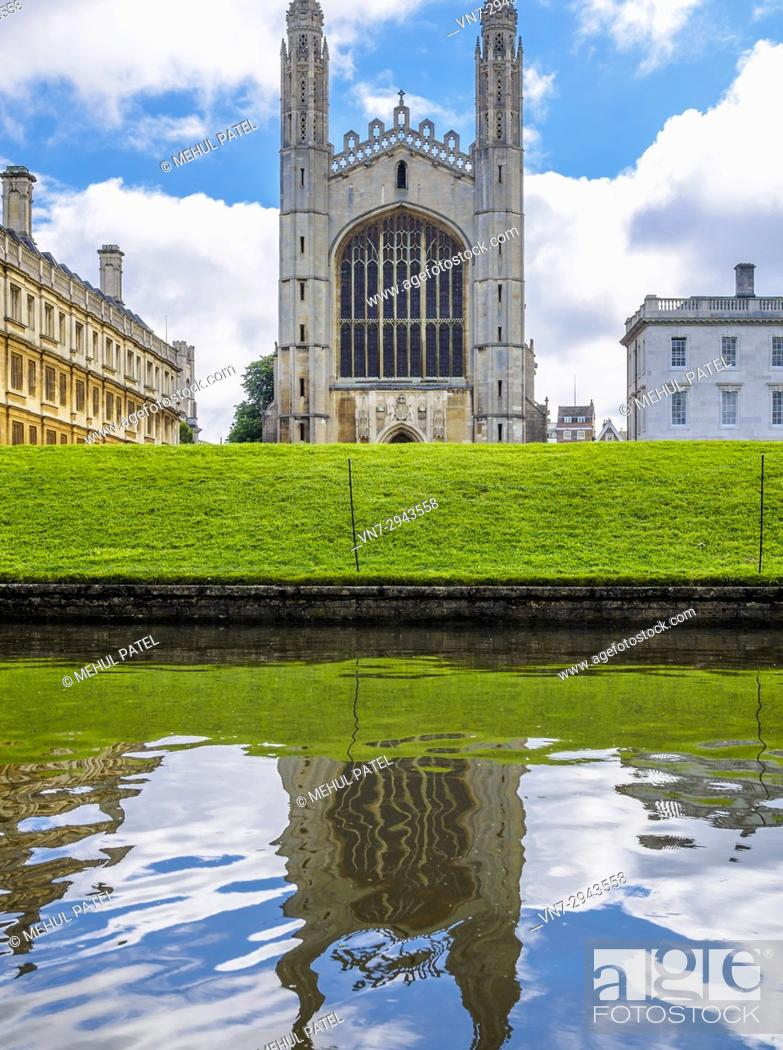 Stock Photo: View of King's College Cambridge chapel from the River Cam, Cambridge, England, UK.