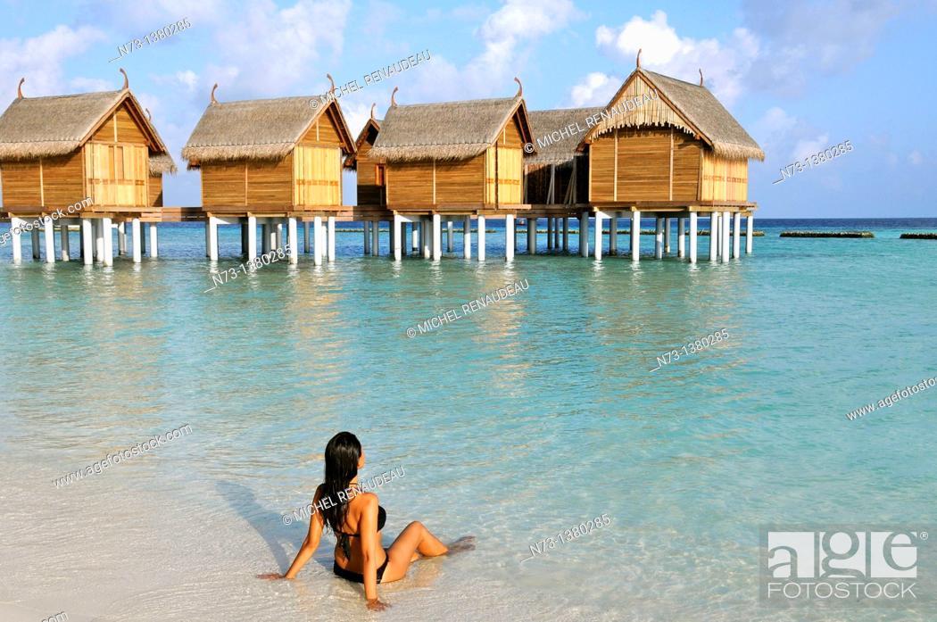 Stock Photo: Indian Ocean, Maldives, Alifu Dhaalu Atoll, Constance Moofushi Resort.