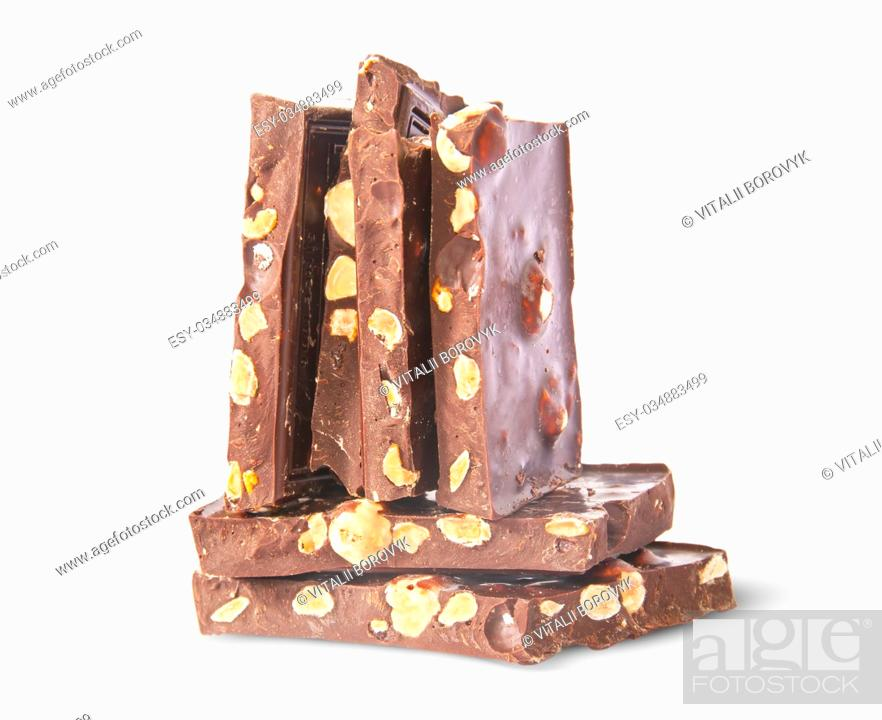 Stock Photo: Vertical and horizontal stack of chocolate bars isolated on white background.