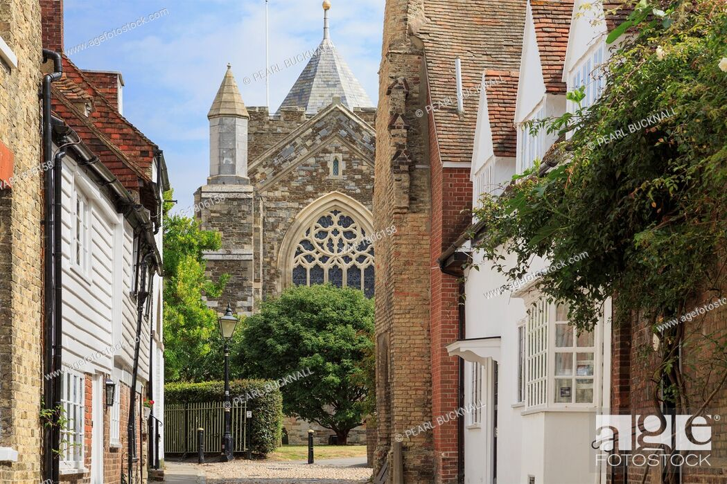 Stock Photo: West Street, Rye, East Sussex, England, UK, Britain, Europe  View to St Mary's parish church in historic town.