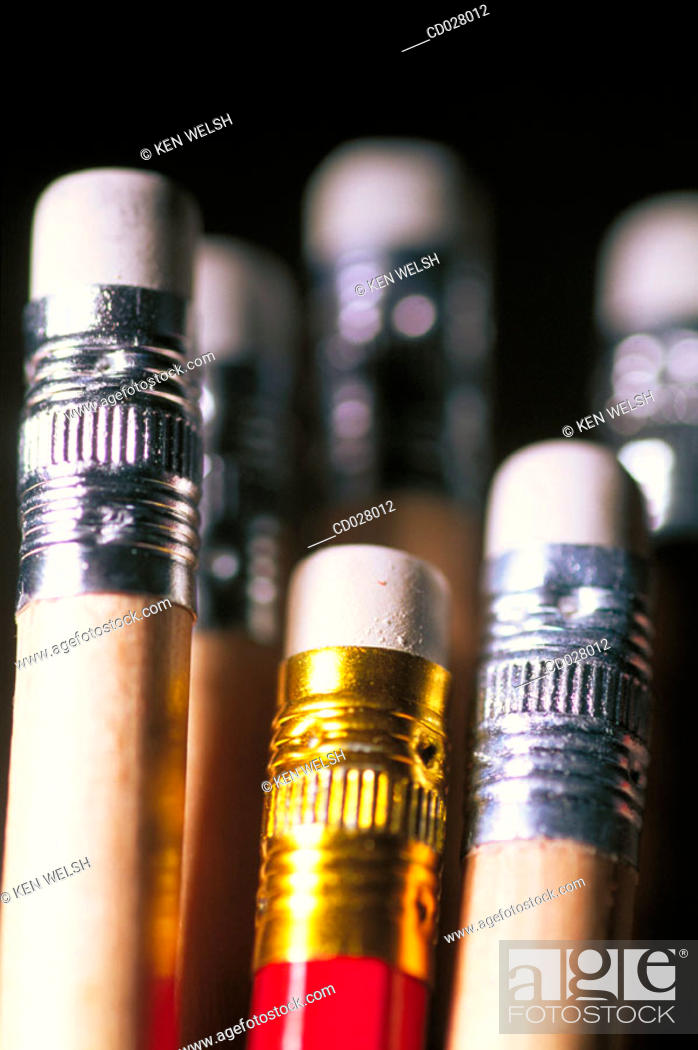 Stock Photo: Erasers on pencils.