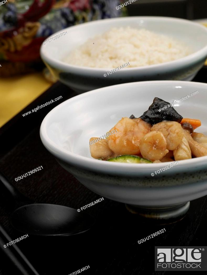 Stock Photo: decoration, chopsticks, food styling, tray, spoon, seafood with mixed vegetables.