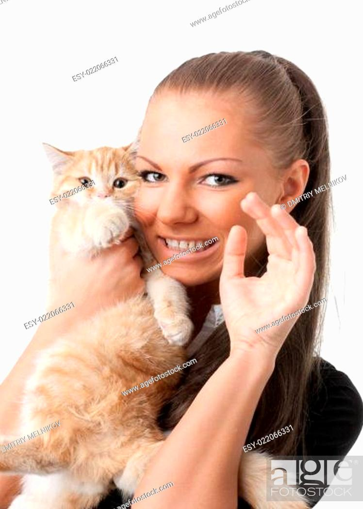 Stock Photo: Young woman with a kitten.