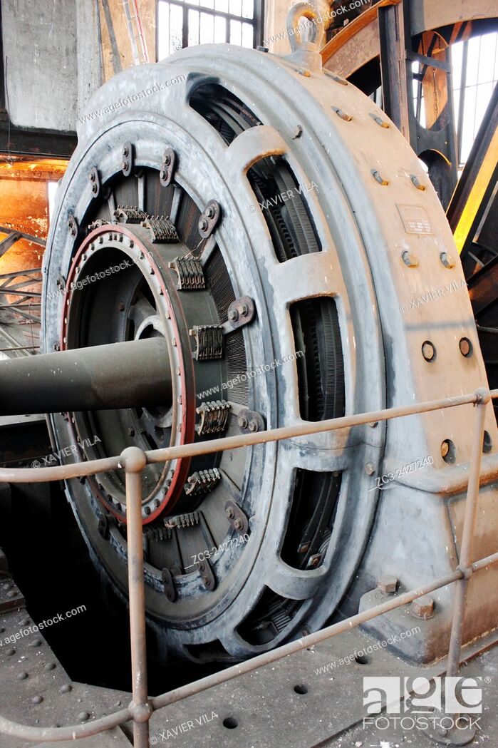 Stock Photo: Old electric turbine for electricity , Mine of Saint Etienne, Couriot mine, Loire, Rhone Alpes, France.