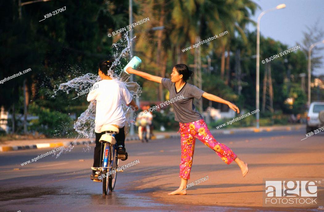 Stock Photo: Pii Mai (Water Festival). Vientiane. Central Laos.