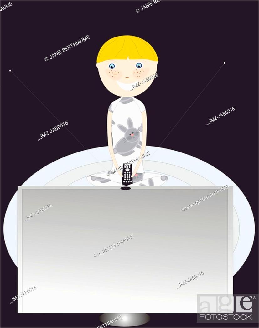 Stock Photo: A little boy watching television in a dark room.