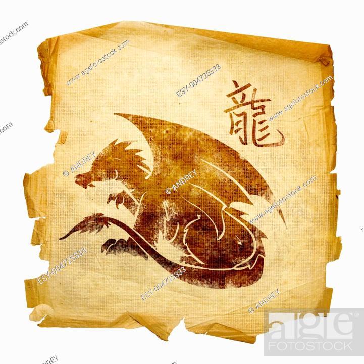 Stock Photo: Dragon Zodiac icon, isolated on white background.