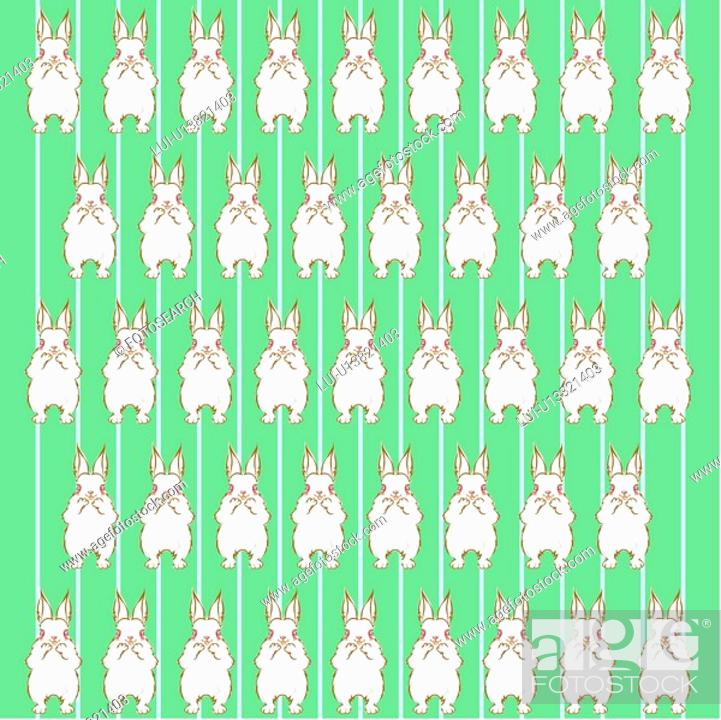 Stock Photo: design arts, wallpaper, indoors, background, rabbit, decorative art, pattern.