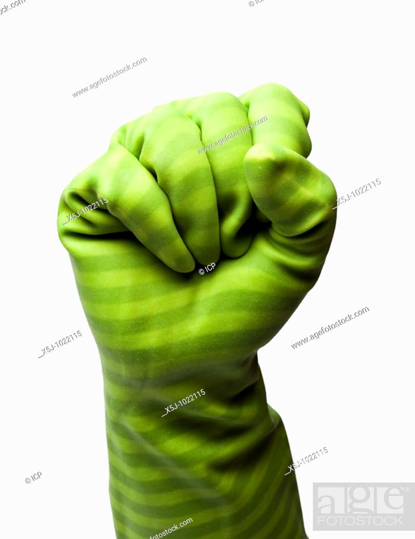 Stock Photo: Female hand in rubber glove making fist shape on white cutout - MR.