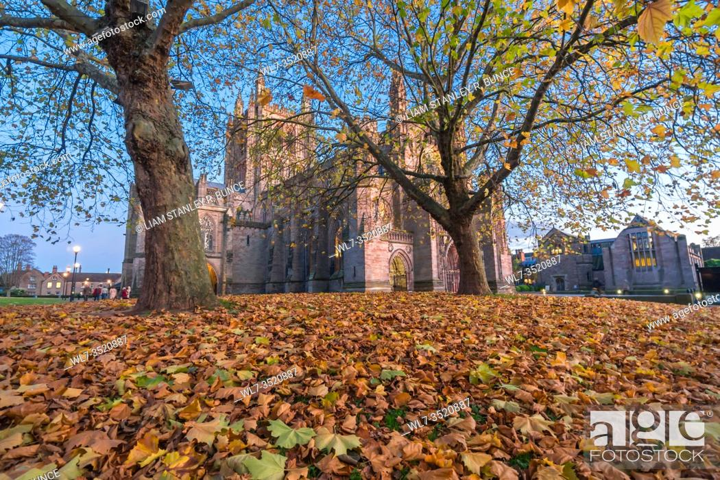 Stock Photo: North westerly view of Hereford Cathedral and Autumn leaves Hereford Herefordshire UK. November 2019.