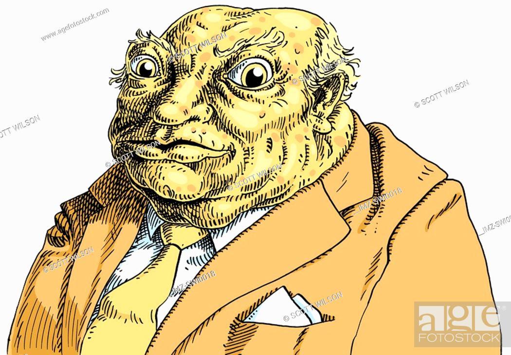 Stock Photo: An illustration of a toad wearing a brown business suit and cream tie.